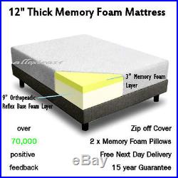12 DOUBLE 4ft 6 BED SIZE MEMORY FOAM MATTRESS + 2 FREE PILLOWS & FREE POSTAGE