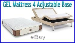 12 FULL GEL Cool Memory Foam Mattress for Adjustable Bed Base FREE 1 GEL Pillow