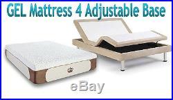 12 FULL XL CoolBreeze GEL Memory Foam Mattress for Adjustable Bed FREE 1 Pillow
