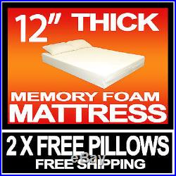 12 inch KING 5ft BED SIZE MEMORY FOAM MATTRESS + 2 FREE PILLOWS & FREE POSTAGE