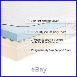12 inch Queen COOL MEDIUM-FIRM GEL Memory Foam Mattress Bed with 2 Free Pillows2