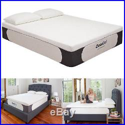 14 Inch Cool Gel Memory Foam Mattress High-density Knit Fabric Cover with Pillow