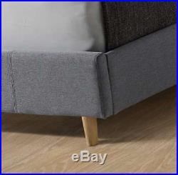 2018 4ft6 Lucia Linen Grey Fabric Bed Frame + Mem Foam Mattress & 2 Free Pillows