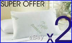 2 X SUPER BAMBOO MEMORY FOAM PILLOW HEAD NECK BAMBOO PILOW Anti-Allergy