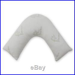 2 x Orthopaedic V Shaped Bamboo Memory Foam Pillow Back Support Maternity Pillow