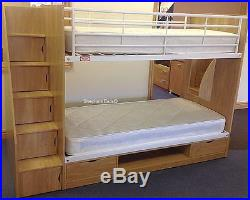 3ft Oak Effect Deluxe Storage Staircase Bunk Bed 2 Free Pillows Offer