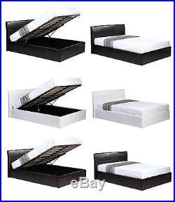 4ft6 Double Ottoman Storage Gas Lift Up Bed + Memory Foam Mattress FREE Pillows