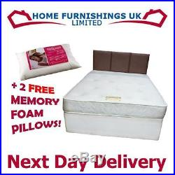 4ft 6 DOUBLE SPRUNG MEMORY FOAM DIVAN BED 13.5G BONNELL WITH 2 FREE PILLOWS