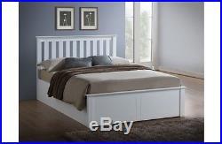 5 Pc SetWhite Wooden Ottoman Bed Quality Duvet 2 Pillows & Memory Foam Mattress