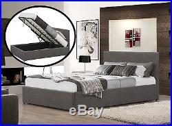 5 Pc Set Fabric Grey Ottoman Bed Quality Duvet 2 Pillows & Memory Foam Mattress