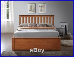 5 Pc Set Wooden Oak Ottoman Bed Quality Duvet 2 Pillows & Memory Foam Mattress