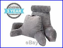Adult Size High Back Bed Rest Reading Pillow with Arms for Sitting Up Xtra Large