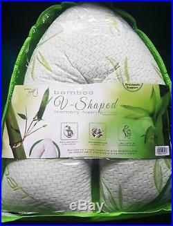Bamboo Memory Foam V Shape Neck Back Extra Support Pillow Orthopaedic Pregnancy
