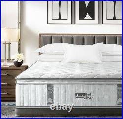 BedStory 11in Double Mattress Pocket Sprung Memory Foam 7 Zone Luxury Pillow Top