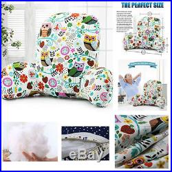 Bed Rest Pillow Reading TV Cushion With Arm Rests Memory Shredded Foam Pad New