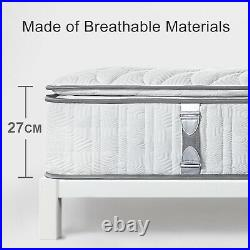 Bedstory 11in 7 Zone Pocket Sprung Double Luxury Pillow Top Memory Foam Mattress