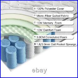 Bedstory 27cm Pocket Sprung 7 Zone Double Mattress Memory Foam Luxury Pillow Top