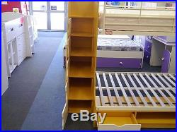 Beech & White Trio 3 Sleeper New 3ft + 4ft Double Bunk Beds 2 FREE PILLOWS