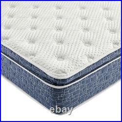 Blue Firm Pillow Top Hybrid Gel Memory Foam 1-Pc Rolled Mattress Full 12 Inches