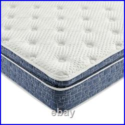 Blue Pillow Top Hybrid Gel Memory Foam 1 Piece Mattress Twin Size 10 Inches