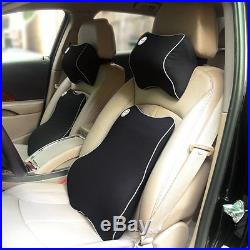 Car Seat Back Support Cushion Neck Pillow Memory Foam For Lower Back Pains Black