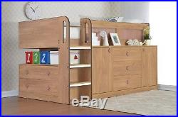 Children's Cosmos Cabin Bed in Oak with Storage 2 FREE PILLOWS