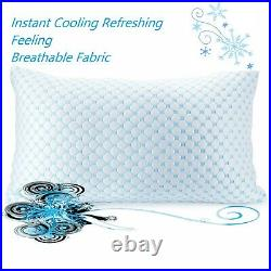 Cooling Memory Foam Pillow Ventilated Bed Pillow Infused Cooling Gel-Queen