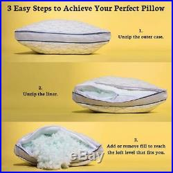 Coop Home Goods Eden Shredded Memory Foam Pillow with Cooling Zippered King