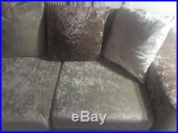Corner Sofa Left Hand Crushed Velvet Mink And Cream Memory Foam Pillows