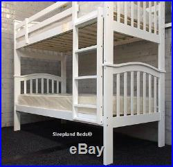 Cosmos White Madrid Wooden 3ft Single Bunk Beds & Mattresses 2 FREE PILLOWS