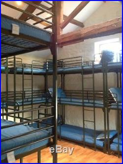 Dallas 3 Tier Metal Frame Bunk Beds in Dark Green with mattresses & pillows