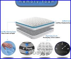 Double, DEEP Memory Pillow Top Luxury THICK White Mattress Quilted Cool Touch