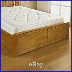 Double Wooden Storage Bed Oak + Quality Duvet + Pillows + Memory Foam Mattress