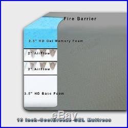 Dynasty Mattress 10 KING HD GEL Memory Foam Mattress Beds withFREE 2 GEL Pillows
