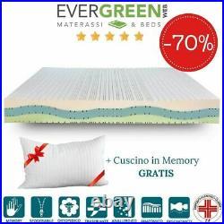 EVERGREENWEB Materasso Matrimoniale 160x190 SILVER MEMORY + Cuscini GRATIS