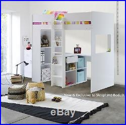 Executive White High Sleeper Bed Storage And Desk 2 FREE PILLOWS OFFER