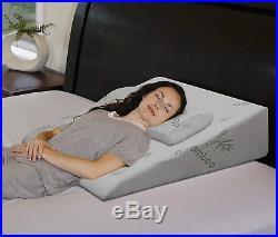 Extra Large Bed Wedge Raised Pillow Acid Reflux Memory Foam Back Improve Sleep