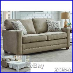 Fabric Sofa Bed Full Size Sleeper with 2 Accent Pillows and Memory Foam Mattress