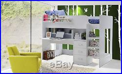 Full White Boston Highsleeper Bed Cabin Bed with Desk Storage 2 FREE PILLOWS