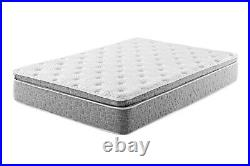 Grey 1-Pc Plush Pillow Top Hybrid Gel Memory Foam Mattress T F Q K CK Size 11