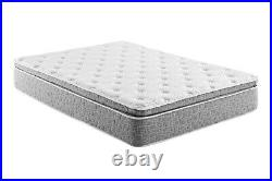 Grey Firm Pillow Top Hybrid Gel Memory Foam 1-Pc Rolled Mattress C. King 12 Inche