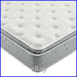 Grey Firm Pillow Top Hybrid Gel Memory Foam 1-Pc Rolled Mattress King 12 Inches