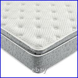 Grey Firm Pillow Top Hybrid Gel Memory Foam 1-Pc Rolled Mattress Queen 12 Inches