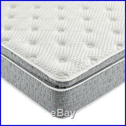 Grey Plush Pillow Top Hybrid Gel Memory Foam 1-Pc Mattress Queen Size 12 Inches