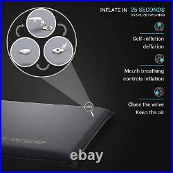 Grey Self Inflating Memory Foam Camping Sleeping Mat Pad with Built in Pillow