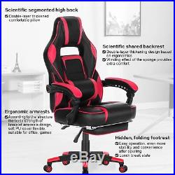 HEALGEN Gaming Chair with Massage Lumbar Pillow and Footrest Memory Foam Raci