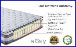 High Density 13 Plush Pillow Top Hybrid Memory Foam & Spring Mattress Queen