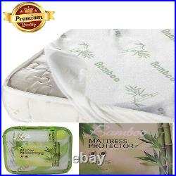 High Quality Bamboo Memory Foam Mattress & Pillow Protector All Sizes