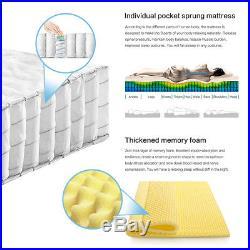 HomyLink Pillow Top Mattress Pocket Sprung Memory Foam Single Double Mattresses