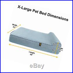 KOPEKS 7'' Orthopedic Memory Foam Dog Bed with 3'' Pillow, X-Large, Grey